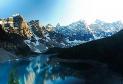 moraine lake, canada, lake, mountains, snow, forest, nature, landscape wallpaper