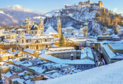winter, snow, salzburg cathedral, austria, city wallpaper