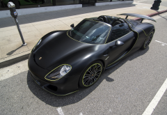 black car, cars, porsche 918 spyder, matte black, porsche 918, porsche wallpaper