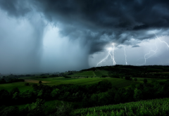landscape, storm, clouds, rain, thinderstorm, dark clouds wallpaper