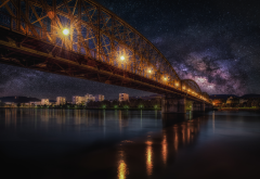 starry sky, bridge, railway, night, hdr, city, nature, milky way wallpaper