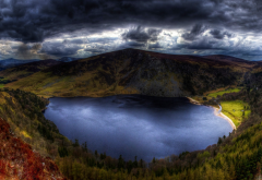 nature, landscape, lake, clouds, mountain, Ireland, forest, grass, water wallpaper