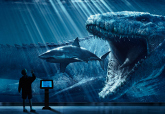 digital art, jurassic world, shark, dinosaur, animals, movies wallpaper