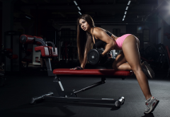 gym, women, girl, dumbbell, training, exercise, ass, sporty, fitness model, legs wallpaper