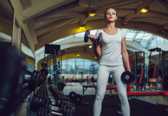 gym, dumbbells, women, girl, fitness, sport wallpaper