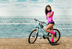 bicycle, model, sport, pose, sea, beach, women, girl, sexy legs wallpaper