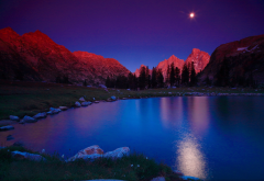 usa, nature, landscape, mountains, nature reserve, grand titon, lake, night, moon wallpaper