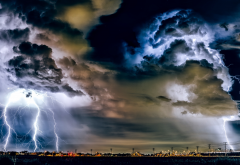 usa, california, sky, dark clouds, lightning, thunderstorm, nature wallpaper