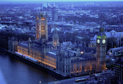 london, twilight, panorama, city, england, big ben, palace of westminster wallpaper