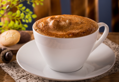 coffee, cappuccino, closeup, foam, saucer, cup, food wallpaper