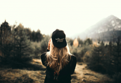 girl, cap, nature, women, long hair, forest wallpaper