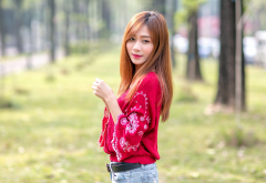 asian, long hair, redhead, jeans, women wallpaper