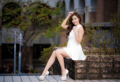 asian, women, long hair, high heels, white dress, brunette. high heels wallpaper