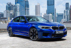 bmw m5 sedan, blue car, bmw m5, bmw, cars, city wallpaper