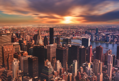 new york, sunset, panorama, city, usa, skyscrapers, sunset wallpaper