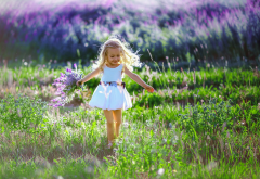 baby, girl, joy, dress, nature, summer, field, grass, bouquet, lavender wallpaper