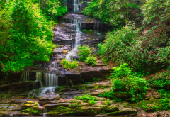 bish, waterfall, stream, nature, usa wallpaper