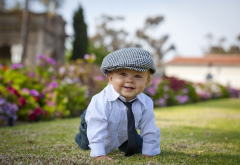 child, boy, kid, baby, shirt, tie, cap, summer, lawn wallpaper