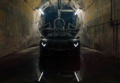 lamborghini, cars, black car, lamborghini aventador, sportcar, tunnel wallpaper