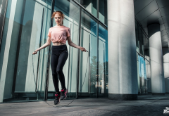 girl, women, sport, redhead, jump rope, jumping wallpaper