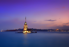maidens tower, istanbul, turkey, twilight, city, bosphorus strait wallpaper
