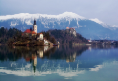 nature, landscape, lake, bled, slovenia, mountains, island, church, reflection wallpaper