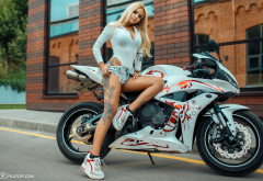 tanned, legs, tattoo, model, women, blonde, motorcycle, bike wallpaper