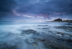 landscape, north sea, england, sea, waves, shore, northumberland wallpaper