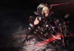 fate grand order, saber alter, thigh-highs, gloves, weapon, sword, motorcycle, bike, anime wallpaper