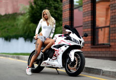 women, girl, bike, motorcycle, blonde, legs, tattoo, tanned, undressing wallpaper
