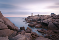 ploumanach lighthouse, lighthouse, stones, rocks, sea, water, nature wallpaper
