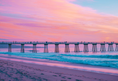 pier, sea, beach, hermosa beach, california, pink, water, sky, ocean, nature wallpaper