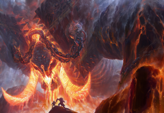 shan qiao, artwork, fantasy, creature, lava, giant, chains wallpaper