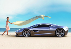 aston martin dbc, art, cars, supercar, beach, sea, girl, women, aston martin dbc concept, aston martin wallpaper