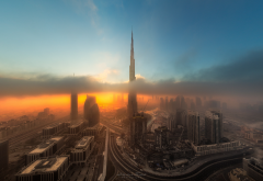 burj khalifa, city, dubai, clouds, sunrise, uae, skyscrapers wallpaper