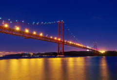 25 de abril bridge, portugal, lisbon, night, lighting, river �agus, city wallpaper