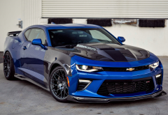 chevrolet camaro, tuning, blue car, sports coupe, chevroletm cars wallpaper