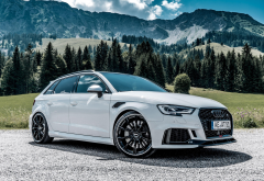 audi rs3, cars, tuning, audi rs3 sportback abt, audi, mountains, white car wallpaper