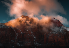 national park, tops, rock, nature, zion, clouds wallpaper
