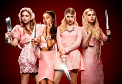 billie lourd, ariana grande, emma roberts, abigail breslin, scream queens, movies, tv series, pink dress, blonde, women, actress, knife,  wallpaper