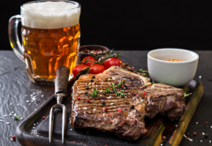 beer, meat, tomatoes, food wallpaper
