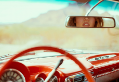 retro car, cars, mirror, girl, women, chevrolet impala, chevrolet wallpaper