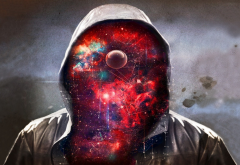 men, art, galaxy, hood, space, creative wallpaper