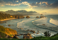 nature, landscape, united states, oregon, ocean, beach, evening, mountains wallpaper