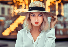 girl, model, portrait, hat, blouse, women wallpaper