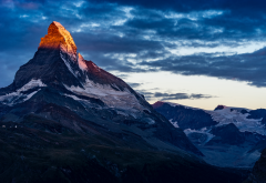 top, clouds, sky, nature, mountains, matterhorn, switzerland wallpaper
