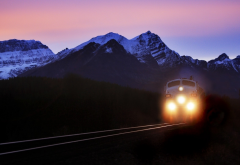 nature, mountains, train, road, rails, evening, railroad wallpaper