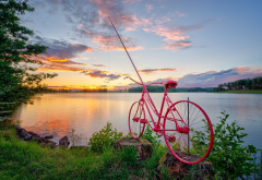 norway, nature, lake, sunset, bicycle, fishing rod wallpaper