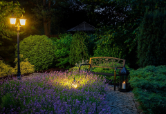 bench, park, lantern, flowers, night, nature wallpaper