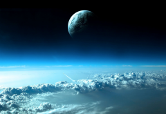 space, planet, art, clouds, graphics wallpaper
